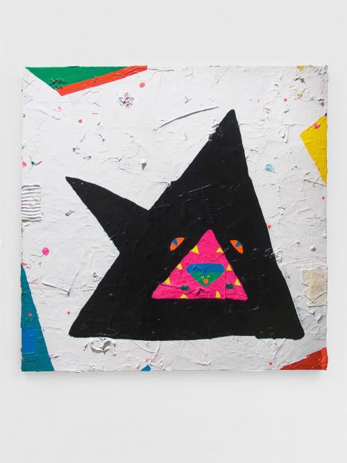 Misaki Kawai, Shark Attack, 2011. Acrylic, fabric and paper on canvas, 60 x 60 in, 152 x 152 cm