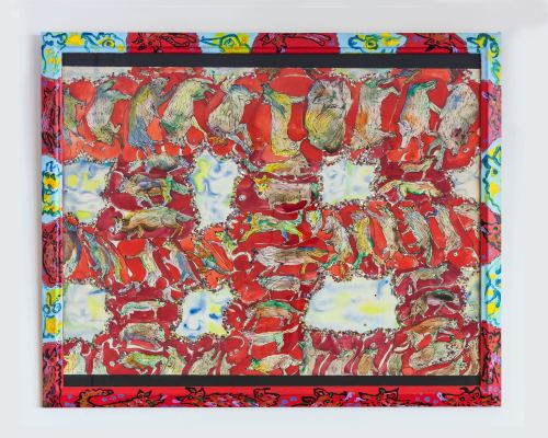 Maija Peeples-Bright, Wolf Weave, 1971. Mixed media on paper with decorated frame, 22 × 30 in, 56 x 76 cm