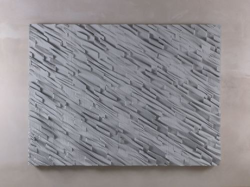Ara Peterson, Panel (Silver, Gray), 2011. Acrylic paint on wood, 58 x 80 in, 147 x 203 cm