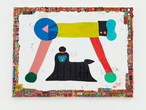 Misaki Kawai, Doggy Bridge, 2011. Acrylic, fabric and paper on canvas, 60 x 80 in, 152 x 203 cm