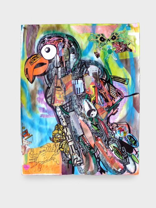 Joe Grillo, Robotic Tropical Bird, 2009. Acrylic, spraypaint and collage on paper, 24 x 19 in, 61 x 48 cm