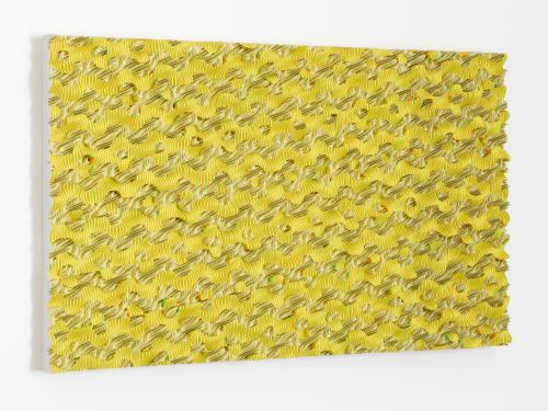 Ara Peterson, Yellow Dot Procession, 2013. Wood and acrylic paint, 29 x 50 x 3 in, 74 x 127 x 8 cm