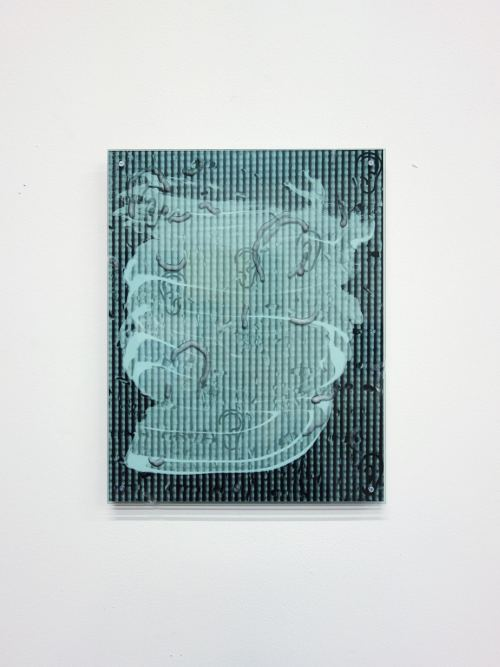 Sandra Vaka Olsen, Ear Block, 2015. Sunscreen on photograph mounted on 2mm aluminum, carved plexi, screws, 14 x 11 in, 37 x 30 cm