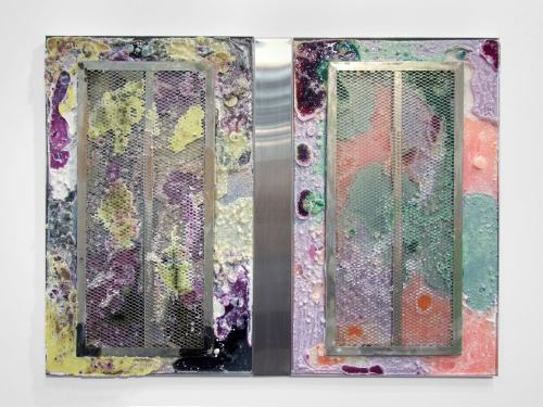 Jesse Greenberg, Exit Cell, 2014. Resin, pigment, metal, 36 x 48 in, 92 x 122 cm