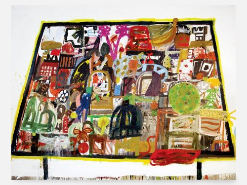 Eddie Martinez, Table, Quilt, Table #2, 2008. Mixed media on canvas, 75 x 96 in, 191 x 244 cm