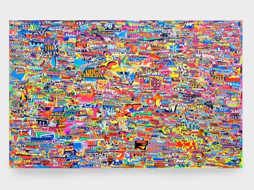 Acrylic and collage on canvas, 48 x 72 in, 122 x 183 cm