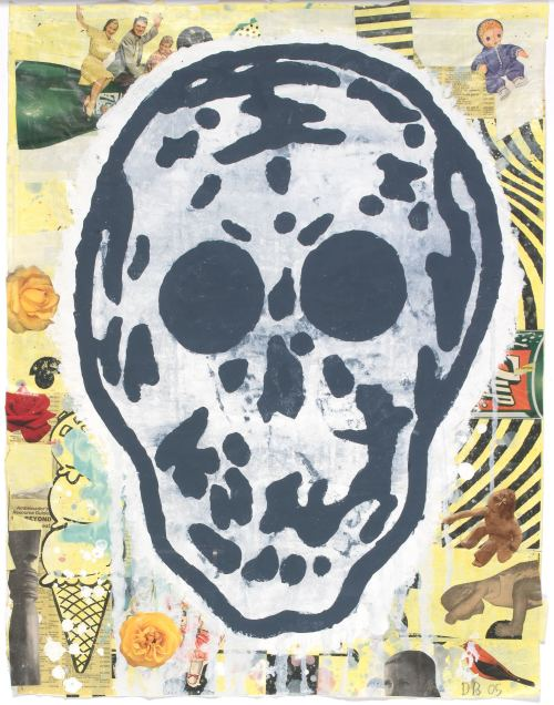 Donald Baechler, Skull Yellow 5, 2005. Gouache, vinyl paint and paper collage on paper, 27 x 21 in