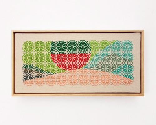 Jordan Nassar, Concrete Catching Fire, 2019. Hand embroidered cotton on cotton, artist frame, 9 x 18 in, 22 x 46 cm