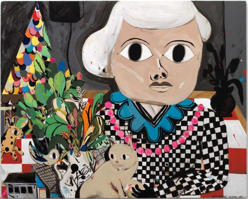 Eddie Martinez, The Great Stare Down, 2005. Acrylic on panel, 48 x 60 in, 122 x 152 cm