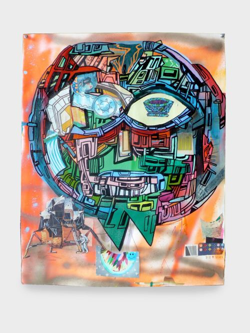 Joe Grillo, Mmoon Mann, 2009. Acrylic, spraypaint and collage on paper, 24 x 19 in, 61 x 48 cm