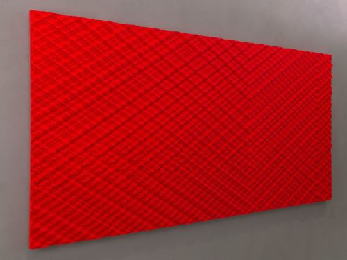 Ara Peterson, Intersecting Streams Red, 2012. Acrylic paint on wood, 48 x 96 in, 122 x 244 cm