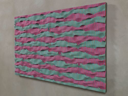 Ara Peterson, Wavepack (Red, Violet, Green), 2012. Acrylic paint on wood, 30 x 49.5 in, 76 x 125 cm