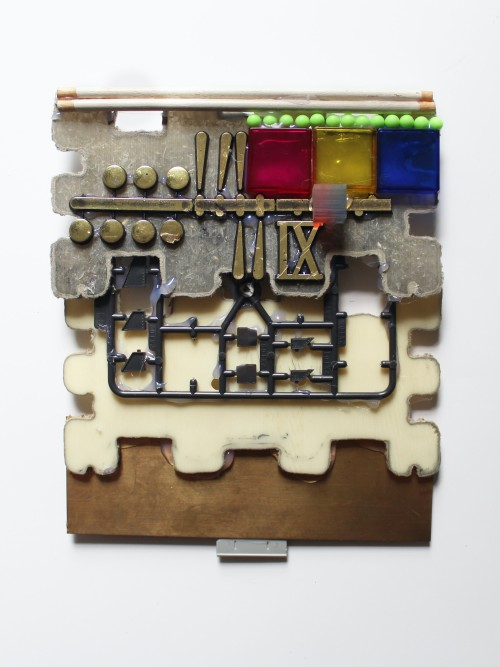 Jesse Greenberg, Template Interface, 2020. Acrylic, abs plastic, hot glue, brass paint, wood, 8 x 7 x 5 in, 20 x 18 x 13 cm
