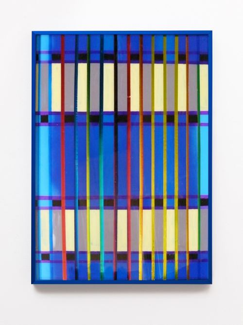 Brian Belott, Blue Bert, 2011. Acrylic, foil and cellophane on plexiglass, 30 x 20 in, 76 x 51 cm