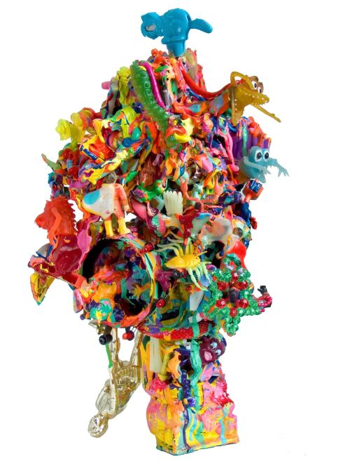 Joe Grillo, Mutant Pop Sculpture 4, 2009. Toys, acrylic, adhesive, 15 x 7 x 10 in, 38 x 18 x 26 cm