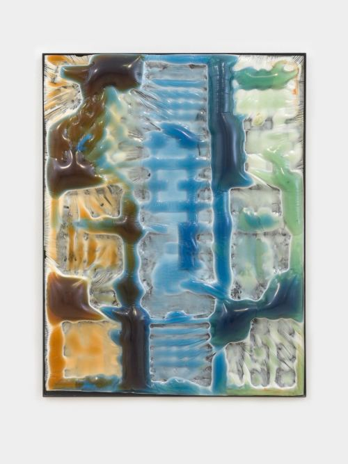 Jesse Greenberg, Body Scan, 2015. Resin, pigment, and painted steel frame, 59 x 46 x 3.5 in, 150 x 117 x 9 cm