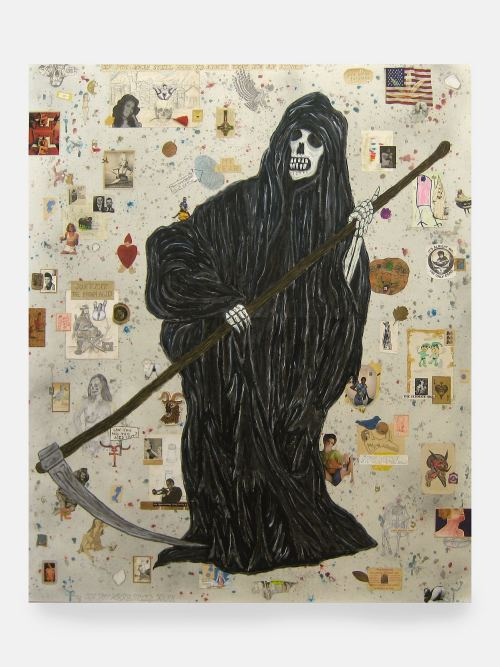 Wes Lang, An Appeal to Heaven, 2007. Acrylic, pencil and collage on canvas, 72 x 60 in, 183 x 152 cm
