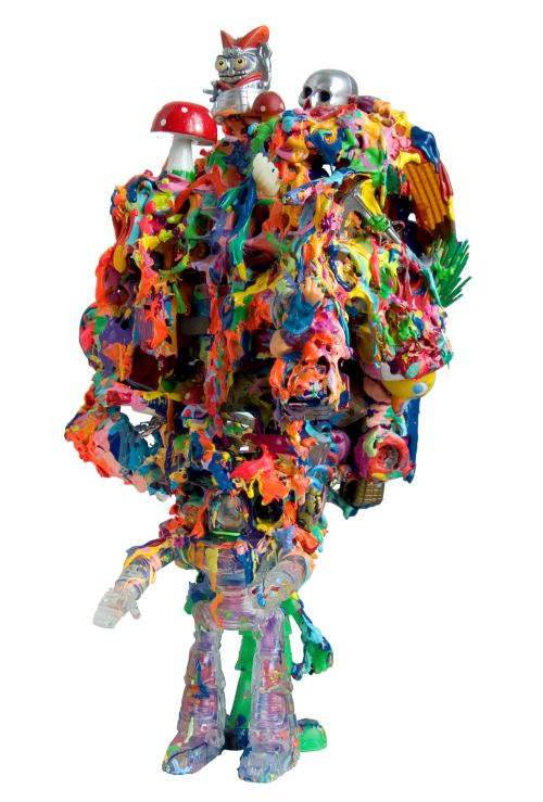 Joe Grillo, Mutant Pop Sculpture 1, 2009. Toys, acrylic, adhesive, 15 x 7 x 8 in, 38 x 18 x 20 cm