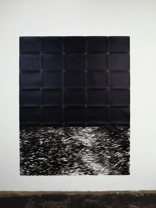 Mark Thomas Gibson, The Wake, 2018. Ink on paper, 88 x 70 in, 224 x 178 cm