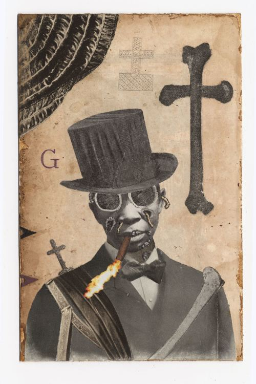 Stefan Danielsson, Baron Samedi, 2004. Collage, watercolor, pencil, leaves on paper in unique frame with embroidered ribbon, 7 x 5 in, 18 x 11 cm