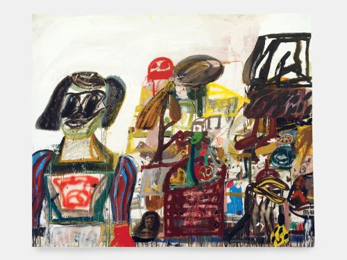 Eddie Martinez, Lost Luggage, 2008. Mixed media on canvas, 60 x 72 in, 152 x 183 cm