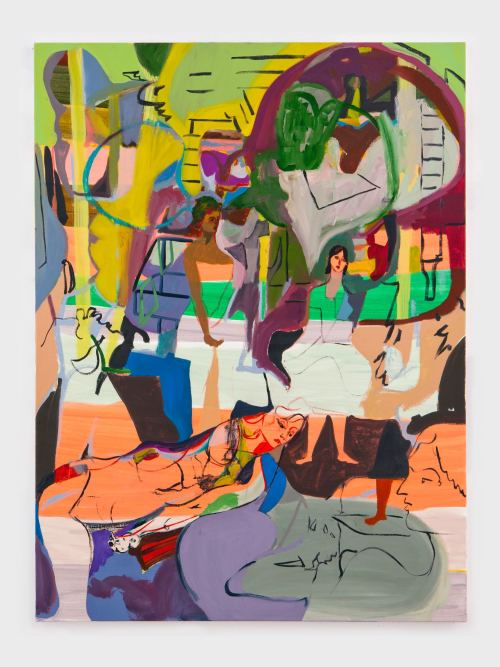 Jackie Gendel, Tete-a-tete-a-tete, 2012. Oil on canvas, 48 x 36 in, 122 x 91 cm