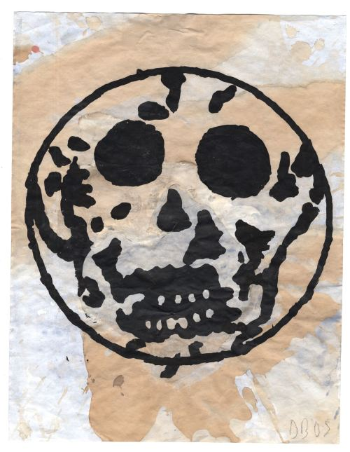 Donald Baechler, Untitled Skull, 2005. Gouache and tea on paper, 14 x 11 in, 36 x 28 cm