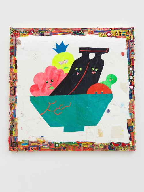 Misaki Kawai, Fruity Party, 2011. Acrylic, fabric and paper on canvas, 60 x 60 in, 152 x 152 cm