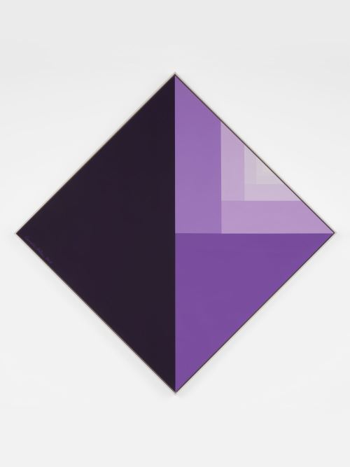 Carsten Holler, Divisions Square (Egyptian Violet Surface), 2018. Caravaggio linen canvas, Flashe Vinyl paint, 34 x 34 in, 90 x 90 cm