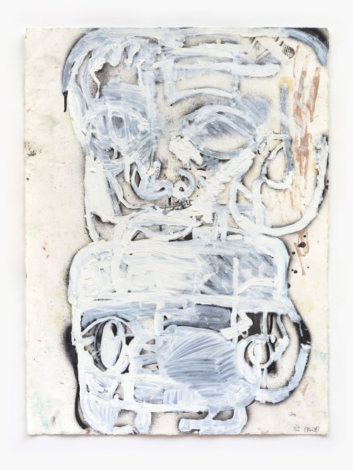 Eddie Martinez, Trump Virus White Out, 2020. Spray paint, oil paint and debris on paper, 30 x 22 in, 76 x 56 cm