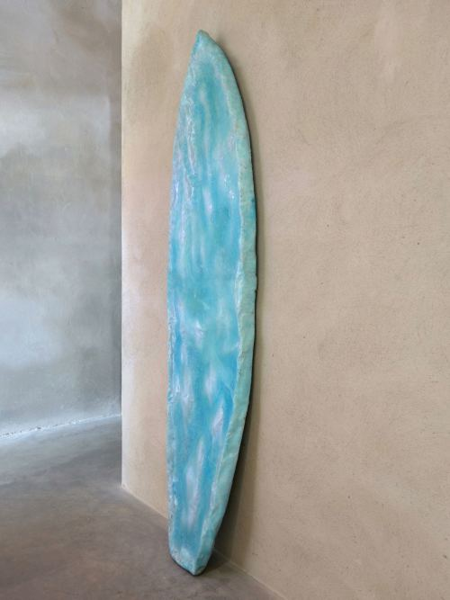 Tiril Hasselknippe, Surfboard (Light Blue), 2014. Styrofoam, resin, pigment, glasfiber 78 x 19 x 3 in, 197 x 48 x 7 cm