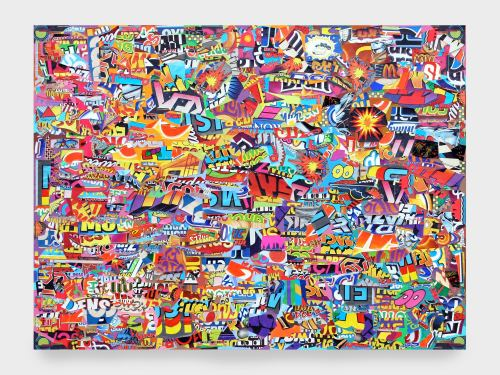 Joe Grillo, Explosionssoisolpxe, 2010. Acrylic and collage on canvas, 30 x 40 in, 76 x 102 cm