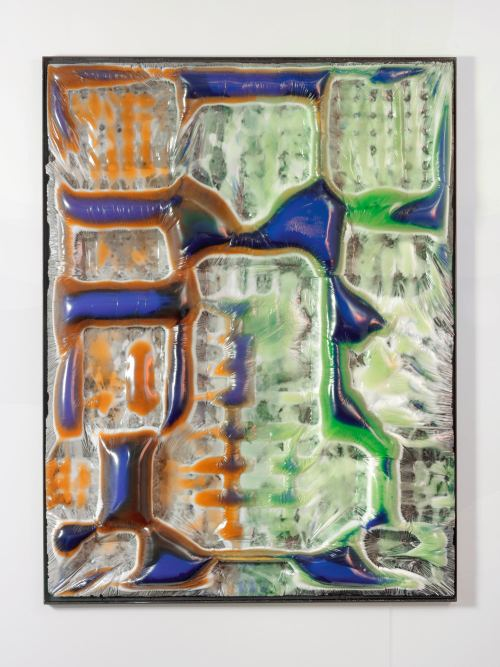 Jesse Greenberg, Body Scan 7, 2015.  Resin, pigment, and painted steel frame, 59 x 46 x 3.5 in, 150 x 117 x 9 cm