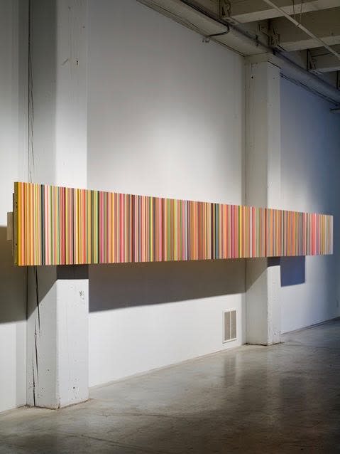 Ara Peterson, Long Impervious Vibes, 2009. Wood and acrylic paint 24 x 282 x 2 in, 61 x 716 x 5 cm