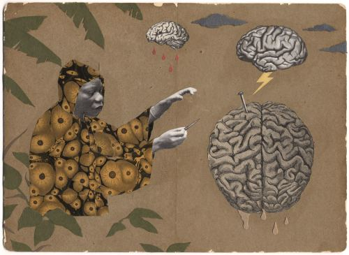 Stefan Danielsson, Bush Headache, 2006. Collage and pencil on paper, 7 x 9 in, 17 x 23 cm