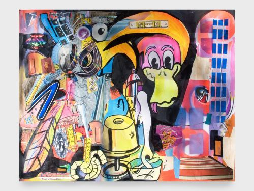 Joe Grillo, 1 of 2, 2010. Acrylic, Spraypaint and collage on paper, 24 x 19 in, 61 x 48 cm