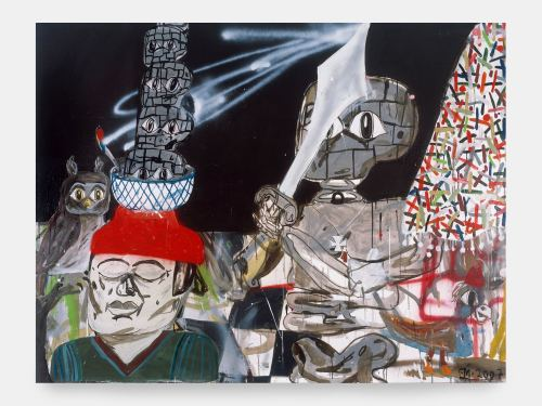 Eddie Martinez, Blockhead Soup, 2007. Acrylic and spraypaint on canvas, 60 x 78 in, 152 x 198 cm