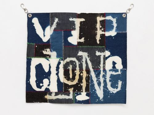 Spencer Longo, VIP Clone, 2015. Denim, bleach, embroidery floss and hardware, 28 x 30 in, 71 x 76 cm