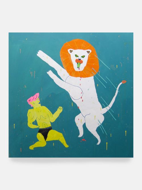 Misaki Kawai, Wild Fighter, 2007. Acrylic and collage on canvas, 64 x 64 in, 163 x 163 cm