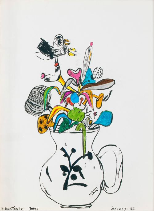 Eddie Martinez, Petit French Flower Pot, 2006. India ink and marker on paper, 12 x 9 in, 31 x 24 cm