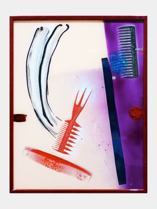 Brian Belott, Comb Painting, Sinatra on Stage, 2011. Combs, acrylic and mixed media on plexiglass, 21 x 17 in, 53 x 43 cm
