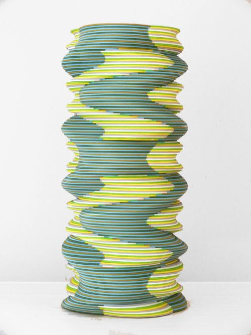Ara Peterson, Tower, 2012. Acrylic paint on wood, 27 x 13 x 13 in, 69 x 33 x 33 cm