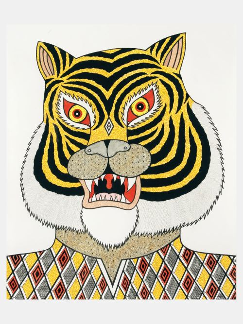 Matt Leines, Untitled (Tiger), 2006. Watercolor, ink and pencil on paper, 13 x 11 in, 33 x 28 cm
