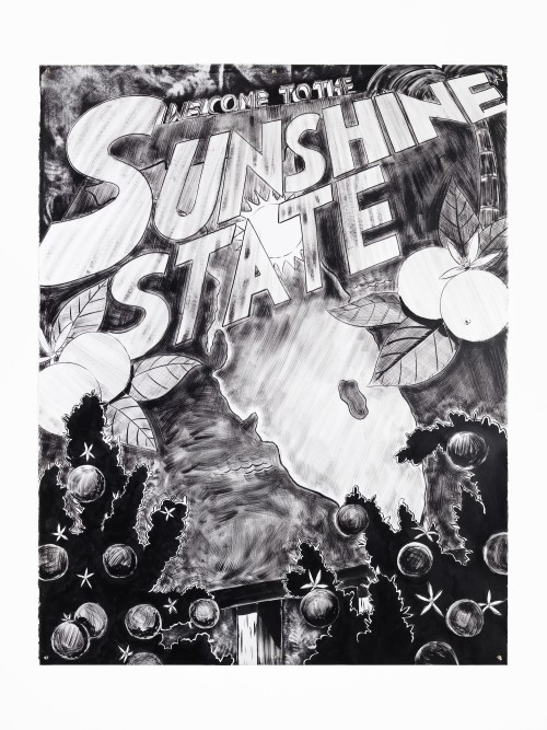 Mark Thomas Gibson, Welcome to the Sunshine State, 2019. Ink on paper, 72 x 56 in, 183 x 142 cm