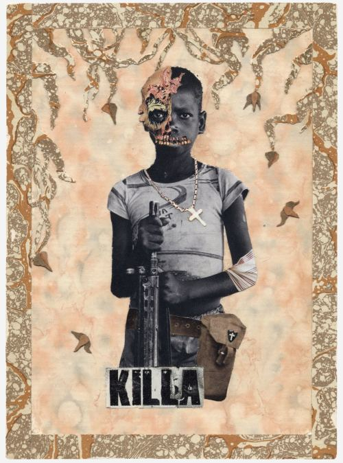 Stefan Danielsson, Killa, 2006. Collage and fabric on paper in unique frame with handmade cross, 7 x 5 in, 18 x 13 cm