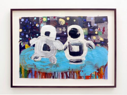 Brian Belott, Slobbots in Space, 2008. Acrylic and collage on paper, 16 x 24 in, 41 x 61 cm