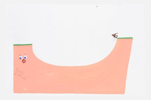 Misaki Kawai, Pink Skate Ramp, 2005. Collage, ink and gouache on paper, 16 x 24 in, 40 x 61 cm