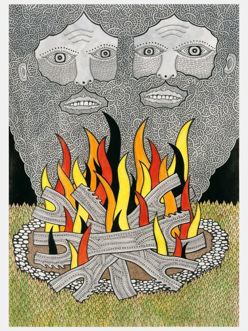 Matt Leines, Fire Visions, 2006. Watercolor, ink and pencil on paper, 11 x 8 in, 28 x 20 cm