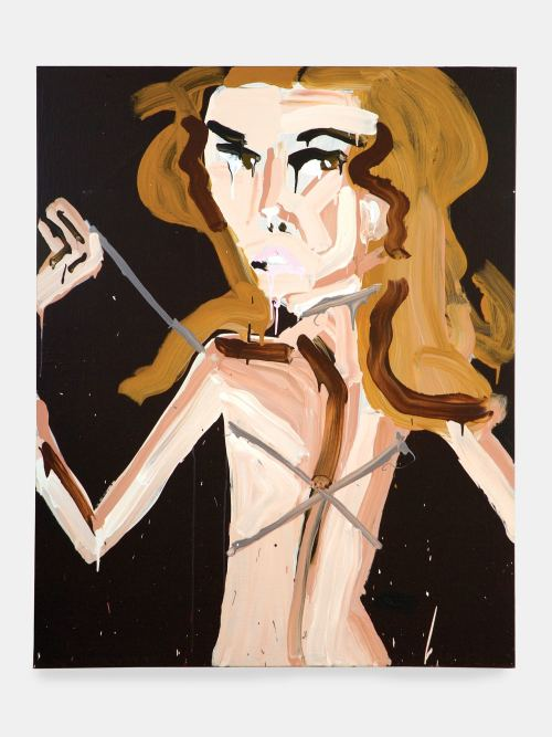 Katherine Bernhardt, Silver Swimsuit, Kate Moss, 2006. Acrylic on canvas, 60 x 48 in, 152 x 122 cm