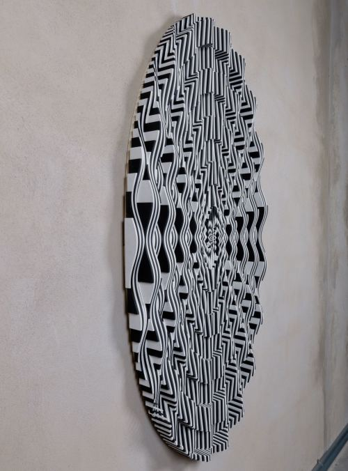 Ara Peterson, Forced Spiral Two, 2012. Acrylic paint on wood, 58 x 28 in, 147 x 71 cm